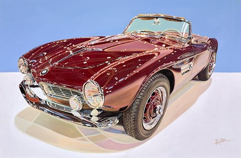 1957 BMW 507 by Roz Wilson - Varnished Original Painting on Stretched Canvas